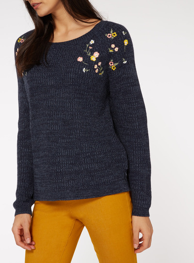 Navy Floral Embroidered Jumper