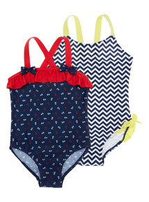 Girls Multicoloured Chevron Anchor Printed Swimming Costume 2 Pack (3 months- 12 years)
