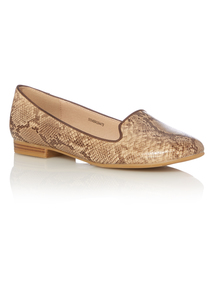 Nude Snake Print Loafers