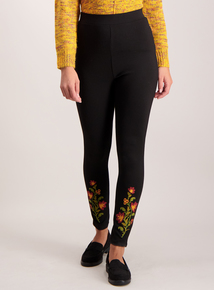 Black Floral Embroidered Leggings
