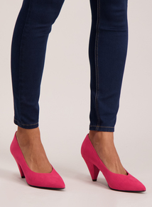 Cerise Pink Cone Heel Court Shoes