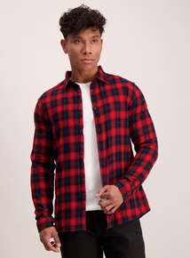 Red & Navy Check Regular Fit Shirt