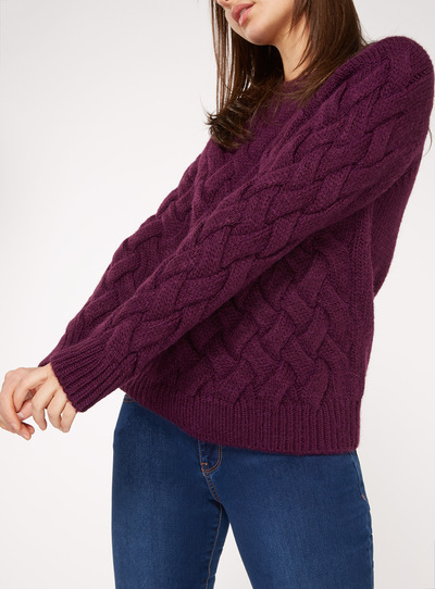 Purple Basket Weave Jumper