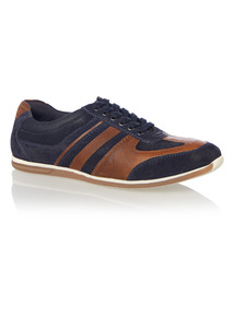 Navy Retro Casual Leather Trainer