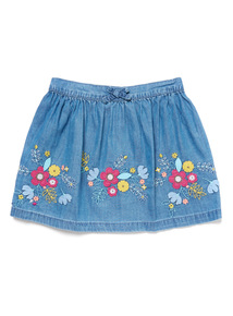 Denim Chambray Embroidered Skirt (9 months-6 years)