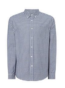 Navy Gingham Stretch Oxford Shirt