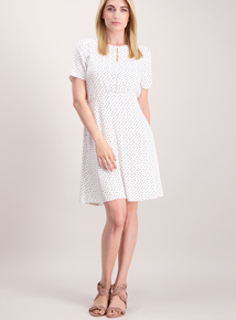 Online Exclusive White Spotty Tea Dress