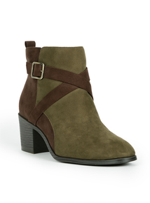 Sole Comfort Olive Green Faux Suede Boots
