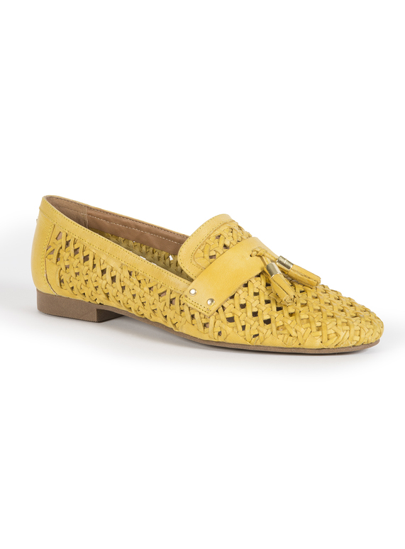 196c86cb188 Womens Online Exclusive Premium Mustard Leather Weave Loafers