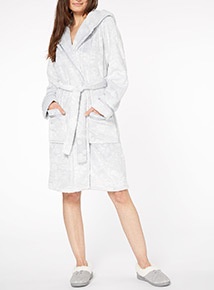 Grey Floral Embossed Robe