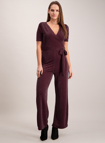 Online Exclusive Burgundy Sparkle Jersey Jumpsuit