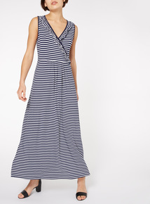 Navy and White Stripe Pattern Frill Maxi Dress