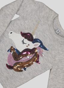 Grey Sequin Unicorn Jumper (3-14 years)
