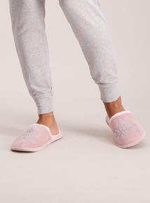 Pink 'Prosecco Princess' Mule Slipper