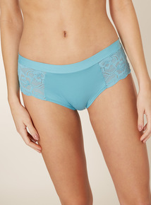 3 Pack Blue Supersoft Lace Midi Briefs