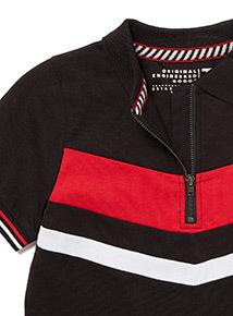Black Block Stripe Polo Shirt (3-14 years)