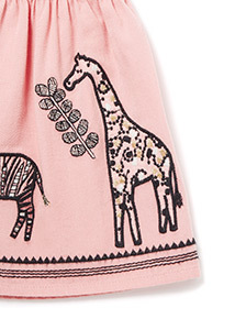 Pink Border Animal Embroidered Skirt (9 months-6 years)