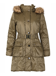 DAVID BARRY Khaki Padded 3/4 Coat