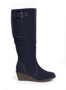 Sole Comfort Navy Suede Knee-High Boots