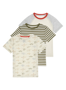 Boys Multicoloured Mixed Pattern Tee 3 Pack (9 months-6 years)