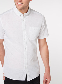 White Textured Regular Fit Short Sleeve Shirt