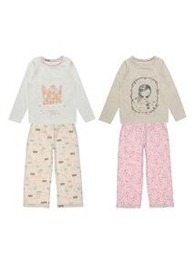 Cream Woodland Princess PJ Set 2 Pack (18 months-12 years)