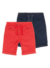 Boys Multi-Coloured Twill Shorts 2-Pack (9 months - 6 years)