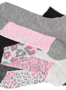 5 Pack Supersoft Animal Print Trainer Socks