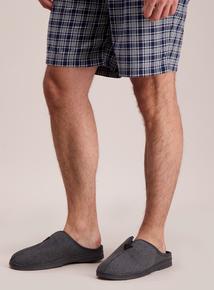 Grey Wool Blend Mule Slippers