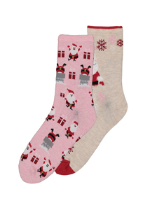 Multicoloured Santa Socks 2 Pack