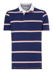 Pink and Navy Striped Rugby Shirt