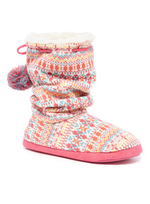 Slouch Fairisle Knitted Slipper Boot