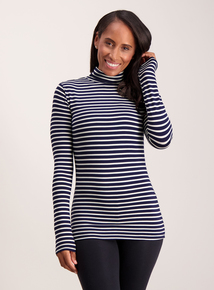 Navy & White Stripe Polo Neck 'Heat Active' Thermal Top