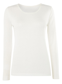 Pointelle Long Sleeve Thermal Tee