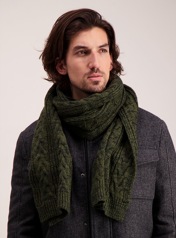 Menswear Green Cable Knit Scarf Tu Clothing