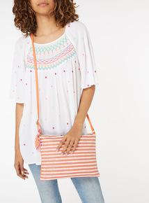 Stripe Weave Cross Body Bag