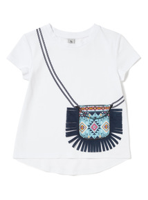 White Fringed Bag Top (3-14 years)