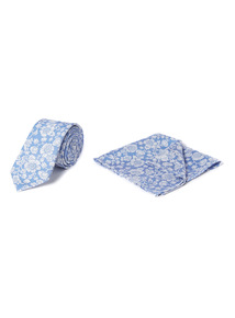 Blue Floral Print Tie and Pocket Square