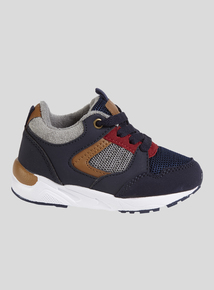 Navy Textile Lace Up Trainers (6 Infant-4 Child)