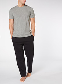 Grey Short Sleeve Tee And Black Trousers Set