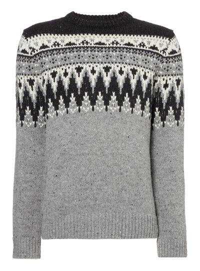 a62225e95 Menswear Black And White Fairisle Jumper | Tu clothing