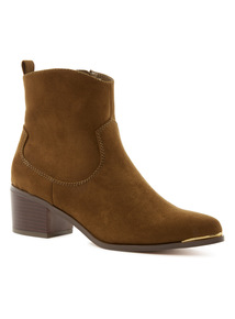 Brown Western Pointed Toe Ankle Boots