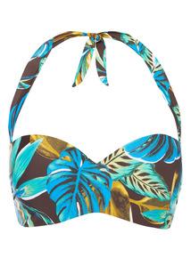 Multicoloured Floral Halter Bikini Top