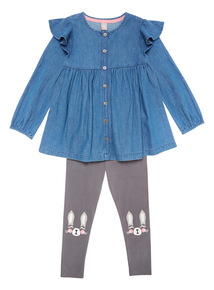 Denim Dress and Grey Legging Two Piece Set (9 months-6 years)