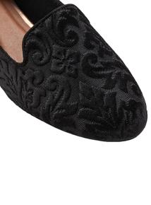 Black Embossed Slipper Style Shoe