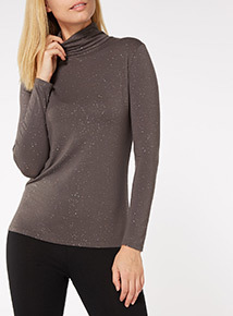 Grey Heat Active Long Sleeve Polo Neck Glitter Top