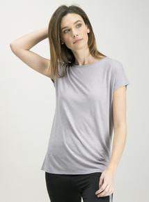 Active Grey Slub Cap Sleeve T-Shirt