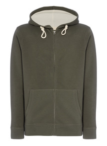 Khaki Zip Front Sweat