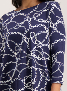 Navy Chain Print Slash Neck T-Shirt