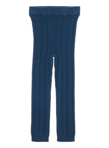Girls Blue Cable Knit Leggings (9 months-6 years)